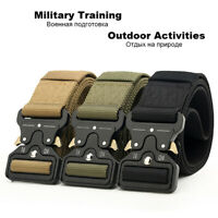 Quick Release Work Belt Tactical Black Mens Army Nylon Metal Buckle Waistbelt