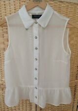 Miss Real London Size 10 Sleeveless Blouse Top Pearl Button Detail Cream Pretty