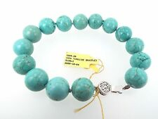 9.5 Inch Veined Turquoise Bracelet 14mm Beads with 14k White Gold Filigree Clasp