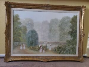 Alex Saval Impressionistic Oil On Canvas Ladies Stroll in the Park Signed RARE