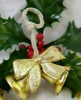 Vintage Christmas Ornament Gold Bell w/ Foil Bow and Chenille Hanger