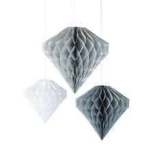 3 Pack Diamond Honeycomb Party Microfibre Silver Grey White Hanging Decoration