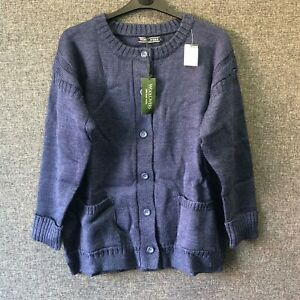 Woolovers 100% Pure Wool Guernsey Cardigan French Navy Large TD110 CC 10