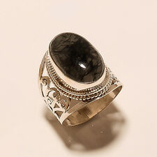6 Gm Natural Black Rutilated Quartz Ring 925 Solid Sterling Silver Size 7 K-333