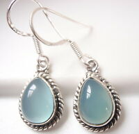 Chalcedony Teardrop with Rope Style Accents 925 Sterling Silver Dangle Earrings