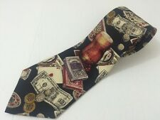 Mario Valentino Tie Gambler Money Playing Cards Beer Poker Silk Necktie