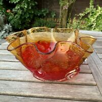 Vtg Large Murano Art Glass Curl Bowl Uncontrolled Bubbled Irridescent Red Amber