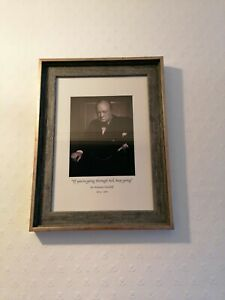 Framed Portrait Of Sir Winston Churchill With Quote If Your Going Through Hell