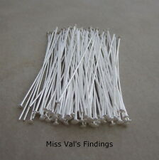 200 silver plated brass jewelry headpins 2 inch 21 gauge