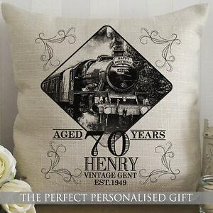 Personalised Train Cushion Birthday Gift Vintage Grandad Flying Scotsman Mallard