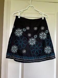 Title Nine Black  Dream Skirt  Flower Designs Size XS  EUC!