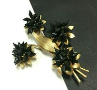 Rare Vintage Black CELLULOID FLOWER Bouquet Brooch Pin Gold Tone EE60g