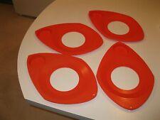Vintage Mid-Century Orange PicnicPlastic Paper Plate Holders Set of 4 Very Good