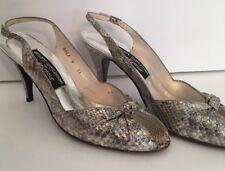 9Aa Stuart Weitzman for Mr Seymour Vintage Silver Metallic Slingback Heels