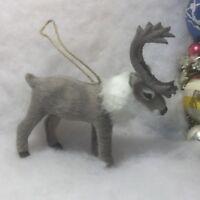 Deer, Reindeer Faux Fur Christmas Tree Ornament gray, Antlers, caribou