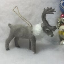 Deer, Reindeer Faux Fur Christmas Tree Ornament gray, Antlers, caribou