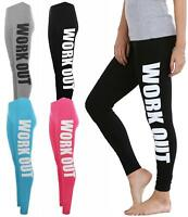 Womens Ladies WORKOUT Print Gym Training Exercise Running Leggings Pants