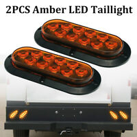 """2x Amber 6"""" Oval LED Tail Lights Surface Mount Truck Trailer Stop Turn Indicator"""