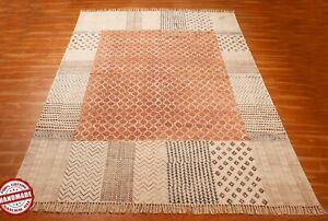 Handmade Block Printed Wall Decor Rug Antique Look Garden Rug Kitchen Carpet