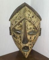 GRANDE MASCHERA AFRICANA TRIBALE d'epoca  in legno dipinto