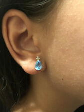 Blue Topaz and Diamond 14K Yellow Gold Pendant and Earrings Set
