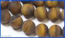 8mm Tiger Eye Frosted Matte Round Beads (10) TEN BEADS