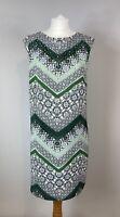 Wallis Petite Sleeveless Beaded Shift Dress UK 12 Knee Length Lined Tile Print
