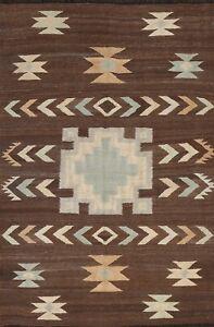 Brown South-western Kilim Afghan Oriental Area Rug Hand-Woven WOOL Carpet 5'x7'