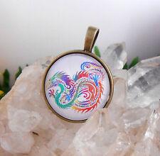 Ketten Anhänger Chin. Drache Glas Cabochon 25 mm - Amulett rund bronce