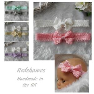 2 Newborn Baby Headbands Lace Pink White Ivory Blue Bow Christening All sizes