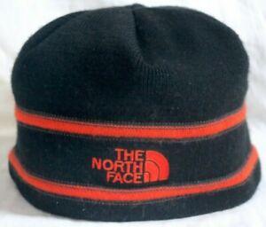 NORTH FACE unisex osfa BEANIE cap hat MERINO WOOL fleece-lining BLACK/ ORANGE