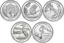 2015 US National Park Quarters Five Coins Uncirculated Straight from the US Mint