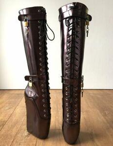 Dark Brown Ballet Heels Boots Women Fetish Tiptoe Heels Designer Boots