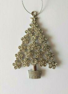 Silver Diamante Christmas Tree Decoration. Hanging Christmas Decorations