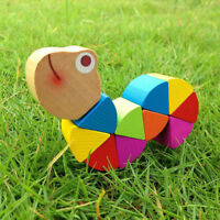 Colorful Baby Kids Twisted Wooden Wood Caterpillars Worm Educational Toy