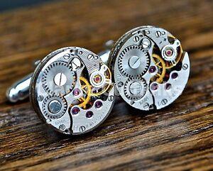 Watch Movement 16mm Cufflinks Steampunk Vintage Wedding Groom Mens Gift Present