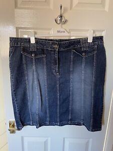 Evans East Coast Blue Denim Skirt Size 24