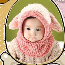9fe60e6cf04 Cute Kawai Baby Kids Girls Boys Warm Woolen Coif Hood Scarf Caps Hats US