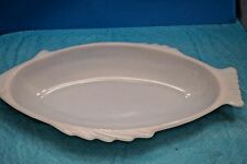 Vtg LARGE Glasbake Fish Shaped Bake ware Dish  Serving White Milk Glass Beach