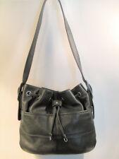 Tignanello Black Pebbled Leather Drawstring Handbag