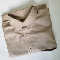 Roundtree & Yorke Gold Label Men's Beige Short Sleeve Shirt | Size L | Cotton
