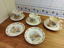 Royal Doulton Beatrix Potters bunnykins barbara vernon design cups and saucers.