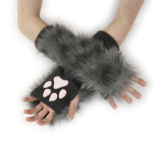PAWSTAR Paw Arm Warmers - Furry Fingerless Gloves Costume wolf Gray [CLAGY]3102