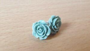 Rose Stud Earrings. Duck egg /Light turquoise  colour. Vintage /Retro Style
