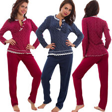 Pigiama donna maniche lunghe cuori pantaloni ruches notte pizzo nuovo S-533