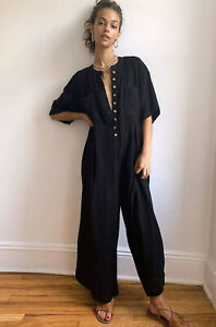 NEW FREE PEOPLE ENDLESS SUMMER CURRENT OBSESSION WIDE LEG JUMPSUIT SIZE MEDIUM