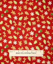 RJR Gingerbread Christmas Fabric ~ 100% Cotton Fabric ~ Sugar Cookie Toss Red