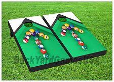 POOL TABLE Custom Wood Cornhole Boards BEANBAG TOSS GAME w Bags Billiard Set 298