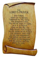 Christian The Lord's Prayer solid mahogany wooden scroll plaque 15cm brown wood
