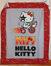 KISS Hello Kitty Bicycle Quilt Panel by David Textiles btp PRICE REDUCED